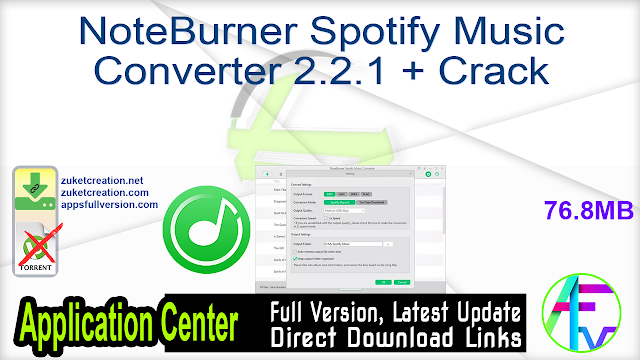NoteBurner Spotify Music Converter 2.2.1 + Crack