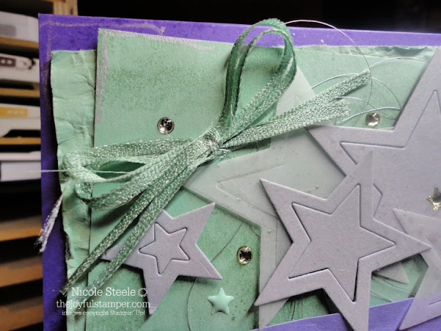 Encouragement card using Stampin' Up!'s Stargazing set | lots of stars | Mint Macaron, Highland Heather, Smoky Slate, Gorgeous Grape color combination