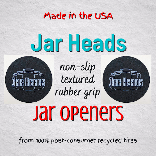 "Main image text: ""Made in the USA Jar Heads non-slip textured rubber grip Jar Openers from 100% post-consumer recycled tires"""