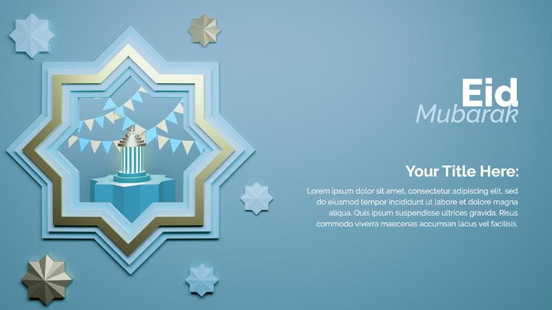 Eid Al Fitr Islamic Ornate 3D Rendering Template Design With Golden Star