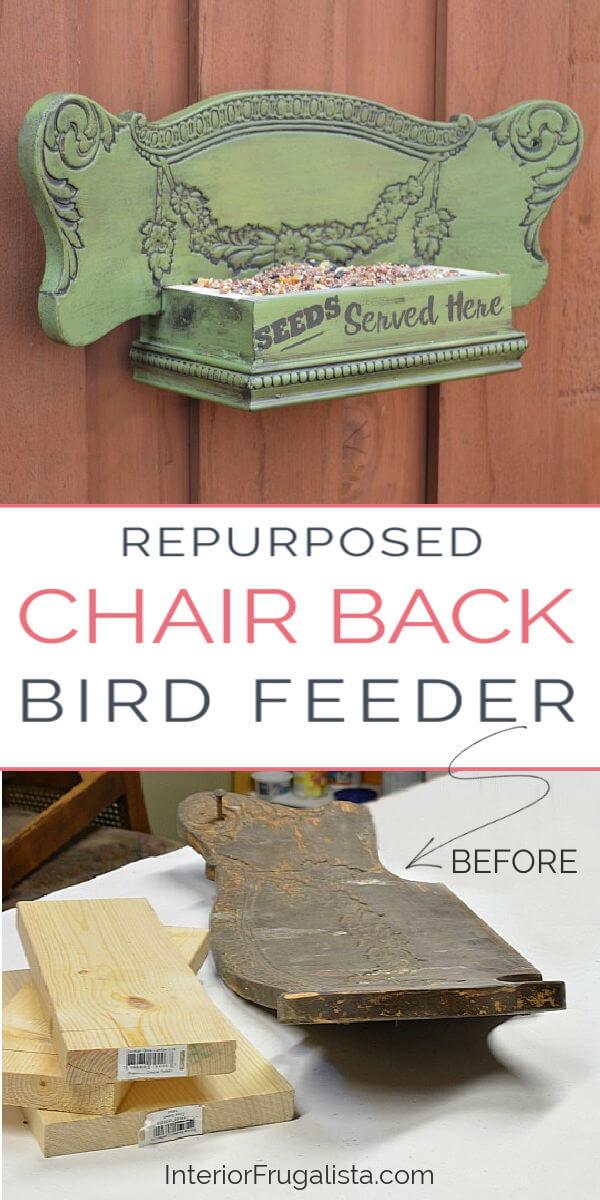 Repurposed Chair Back Bird Feeder
