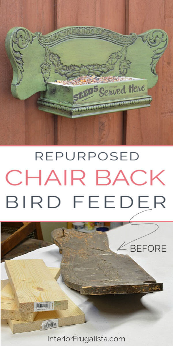 A unique idea for repurposing an antique press back chair into a DIY Bird Feeder with easy to follow step-by-step tutorial. A fun DIY outdoor project for the backyard and a great recycled scrap wood project. #diybirdfeeder #repurposedchair