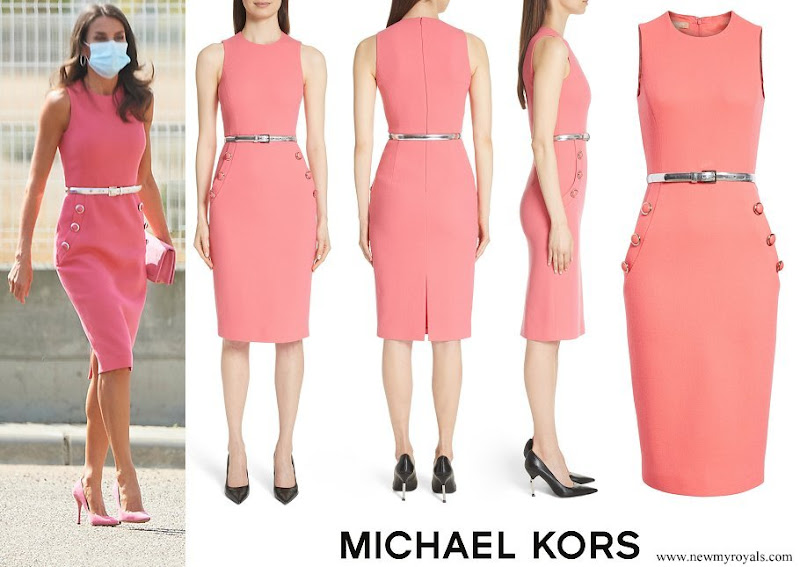 Queen Letizia wore a button detail stretch wool pink dress from Michael Kors