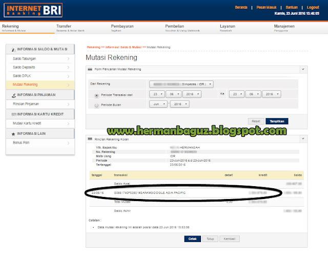 Bukti Pembayaran Google Adsense Melalui Bank BTN e'BATARAPOS dan BANK BRI. - Hermanbaguz