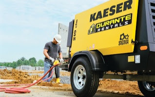 Kaeser portable air compressor on jobsite