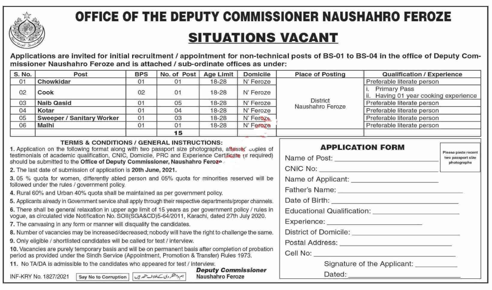Deputy Commissioner DC Naushahro Feroze Jobs 2021