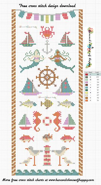 Free Cross Stitch Sampler Pattern. Modern Nautical Theme Cross Stitch Sampler.