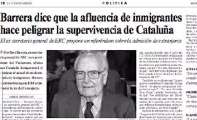 Heribert Barrera, inmigrantes, emigrantes, peligro, Catalunya