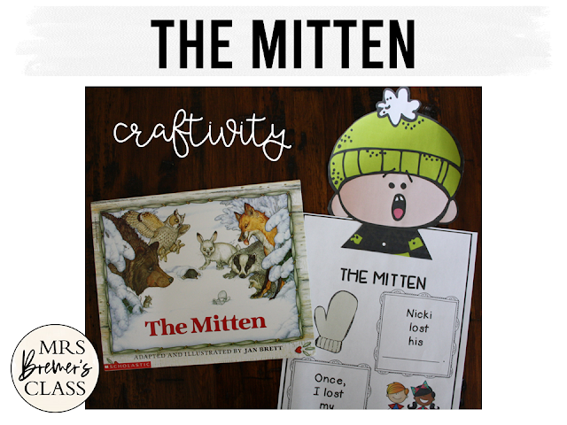 The Mitten book study winter literacy unit with Common Core aligned companion activities and a craftivity for K-1