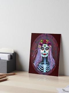 day of the dead catrina skull print
