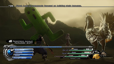 Final Fantasy XIII-2 battle scene with Cactuar and Chocobo