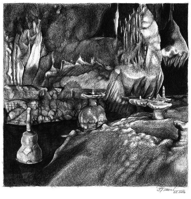 Art by Birgitte Tümmler in ballpoint pen / biro - Botuvera Cave - Brazil