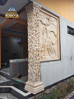 Ukiran pilar teras  dan wayang wisanggeni dari batu alam paras jogja (Batu putih) motif ukiran klasik atau ukiran jawa