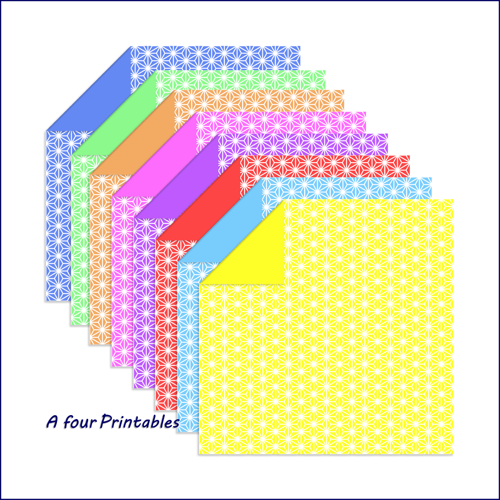 Free sample test print for 15 cm double sided origami paper folding Sashiko stars sheets in eight colours.