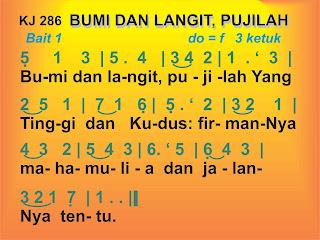Lirik dan Not Kidung Jemaat 286 Bumi dan Langit, Pujilah