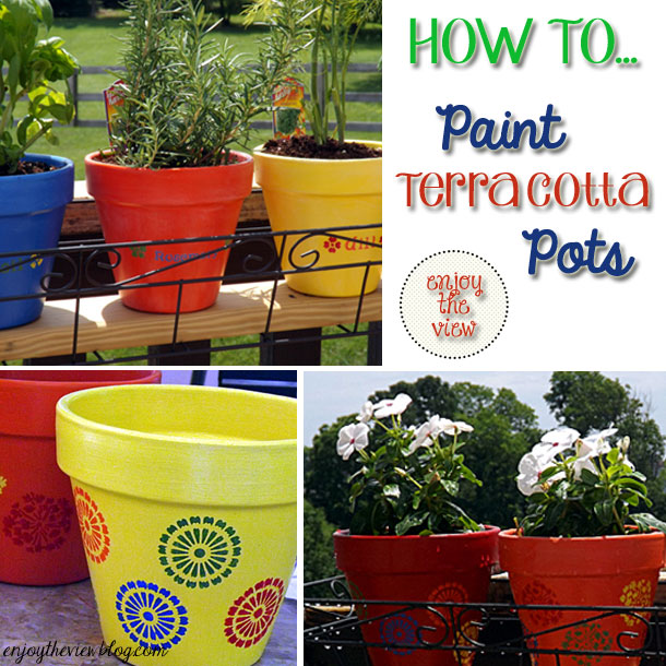 brightly painted terra cotta pots