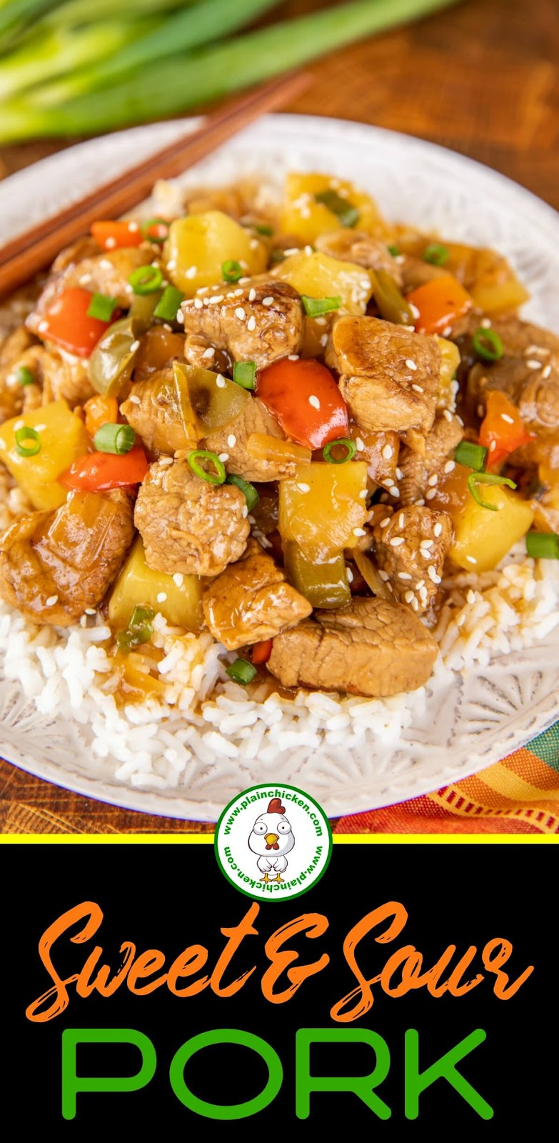 Sweet & Sour Pork on a plate with rice