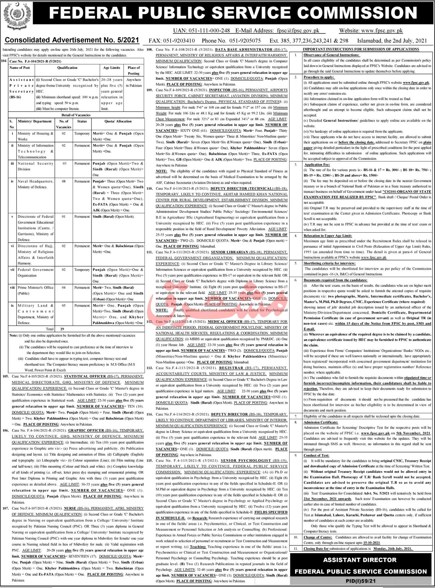 FPSC Federal Public Service Commission Consolidated Advertisement 052021 Apply Online