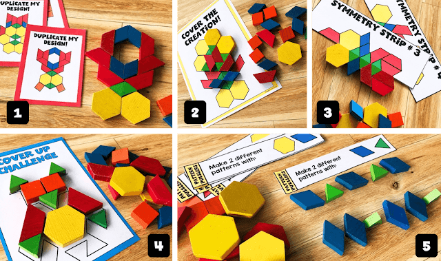 Using morning tubs with pattern blocks is an engaging way to start the day with your students.