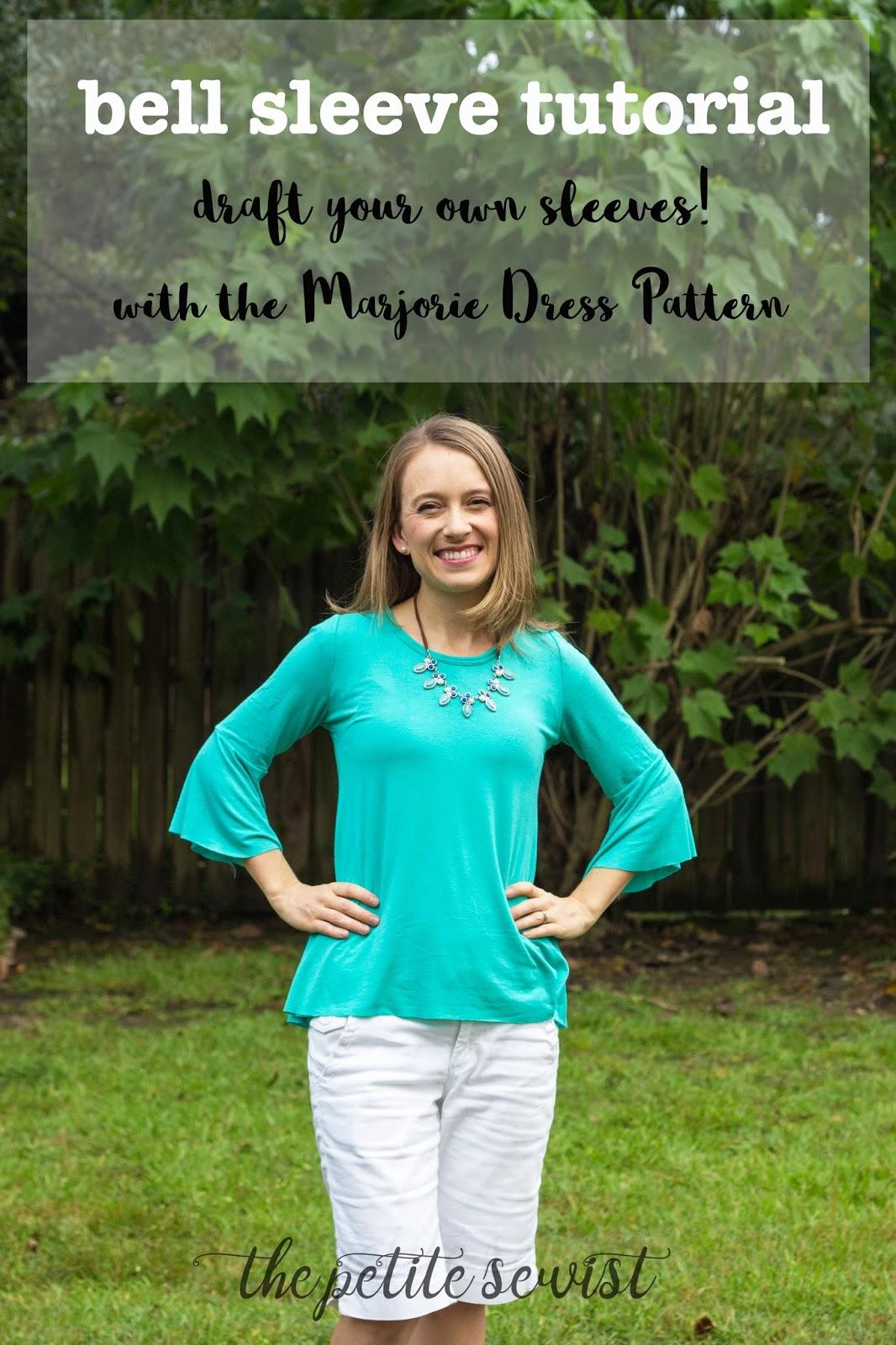 acdf7567306fd DIY Bell Sleeve Tutorial | The Marjorie Dress Pattern - The Petite ...