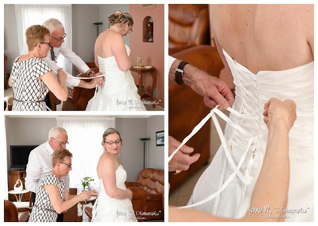reportage photo habillage de la mariée