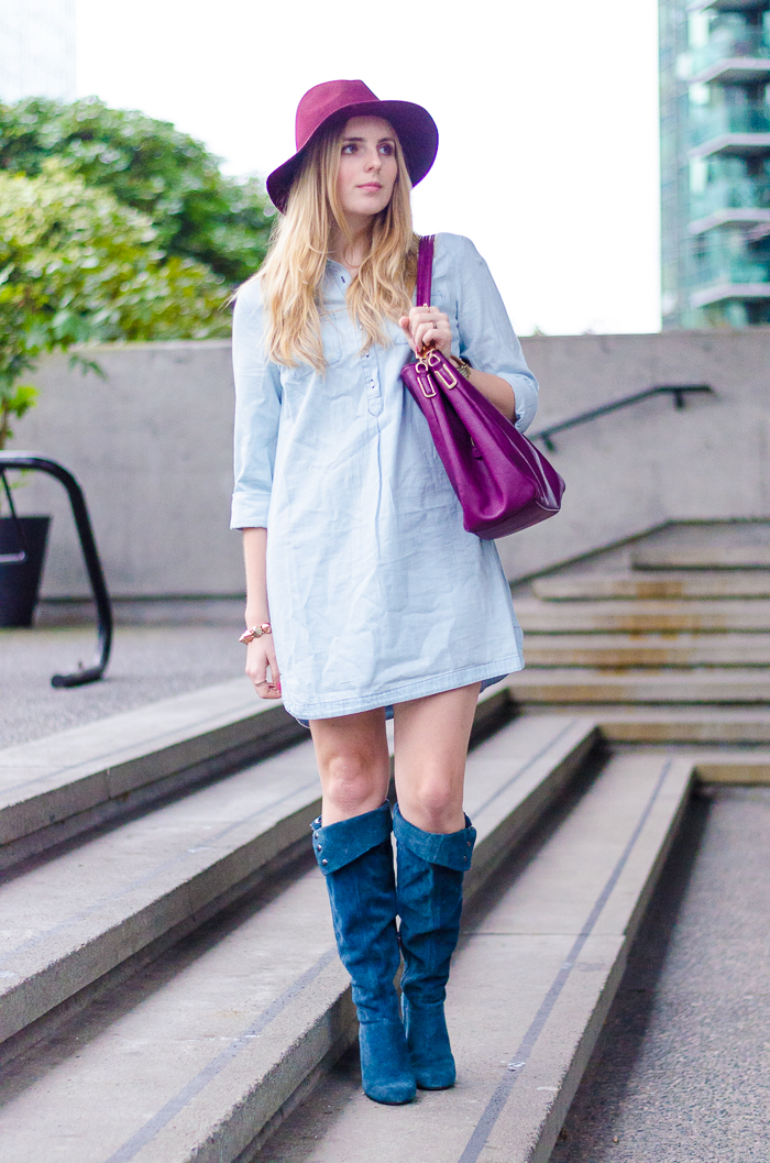 the urban umbrella style blog, vancouver style blog, vancouver fashion blog, vancouver lifestyle blog, vancouver health blog, vancouver fitness blog, vancouver travel blog, canadian fashion blog, canadian style blog, canadian lifestyle blog, canadian health blog, canadian fitness blog, canadian travel blog, bree aylwin, old navy denim shirt dress, how to style a shirt dress, how to style a denim dress, how to style high boots, how to style a burgundy hat, how to style a felt hat, how to style denim, casual daily style blog, nine west blue boots, le chateau hat, best style blogs, best lifestyle blogs, best fitness blogs, best health blogs, best travel blogs, top fashion blogs, top style blogs, top lifestyle blogs, top fitness blogs, top health blogs, top travel blogs