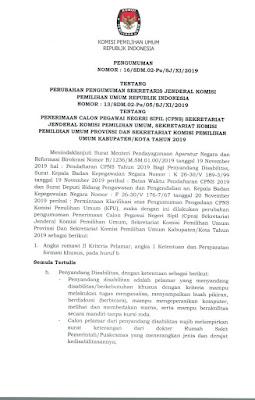 Pengumuman Perubahan CPNS KPU 2019