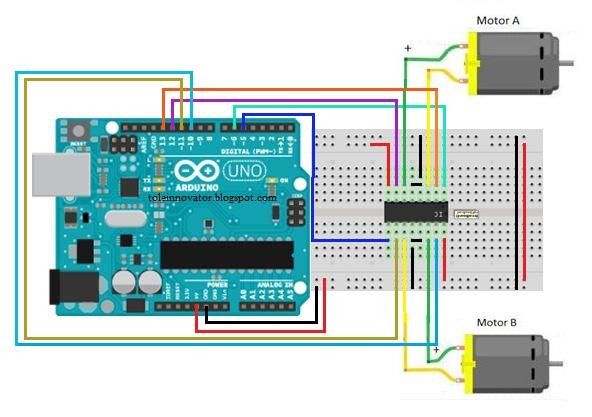 Rangkaian kontrol motor DC dengan L293D Arduino