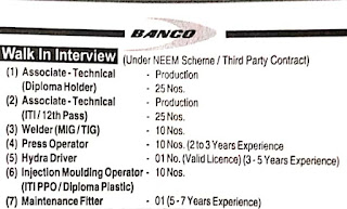 Walk In Interview For 12th Pass, ITI And Diploma Candidates In Banco Products (India) Ltd.