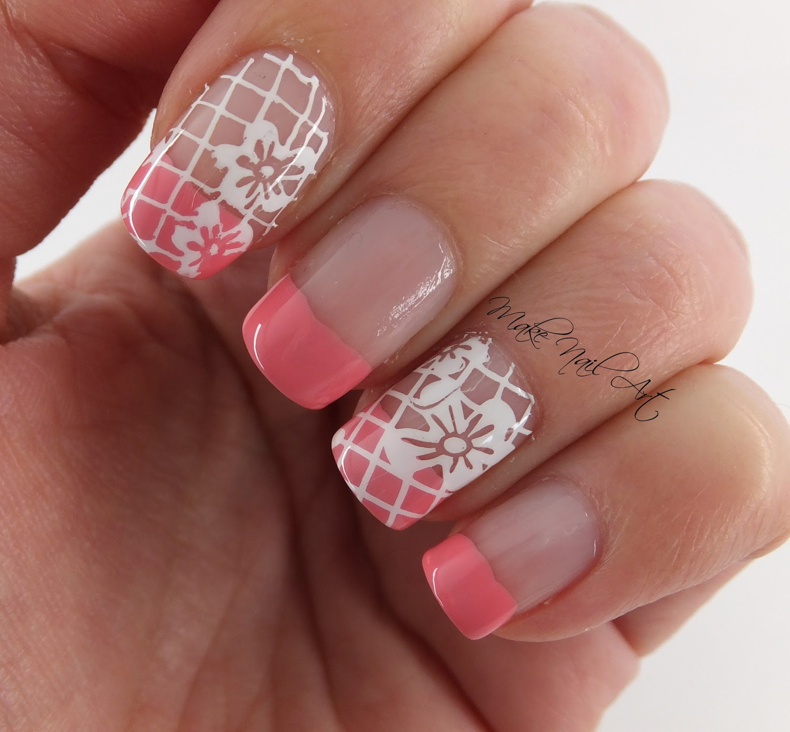 Make Nail Art: Pink French Manicure And Stamping Flowers Spring Nail ...