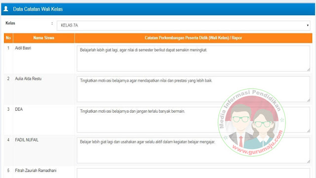Catatan Wali Kelas Siap Pakai Untuk Rapor K13