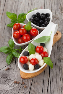 Mozzarella, Cherry Tomato and Olive Skewers