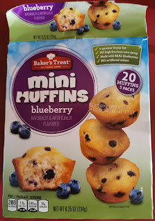A box of Baker's Corner Blueberry Mini Muffins, from Aldi