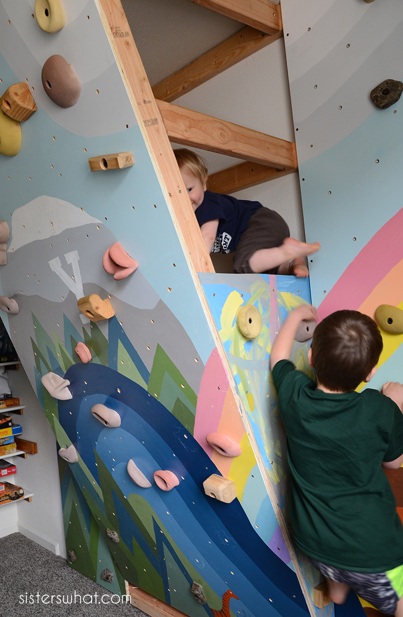 children's rock climbing wall inside