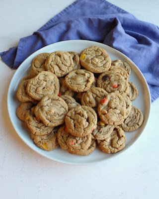 plate full of chewy triple peanut butter cookies