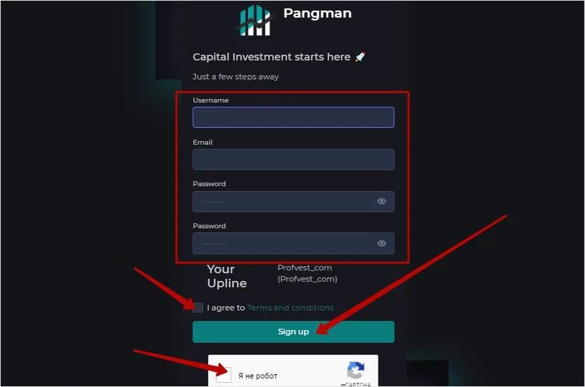 Регистрация в Pangman Capital 2