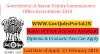 Government of Assam Deputy Commissioner Office Recruitment 2018 – Account Assistant