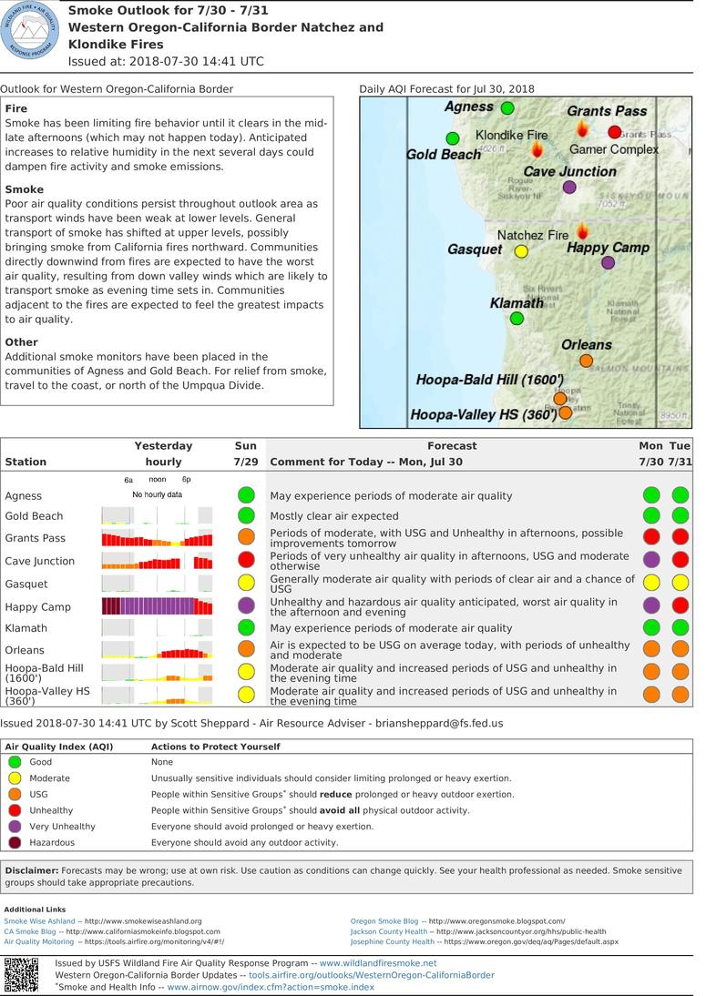 smoke outlook for western oregon california fires for monday and tuesday includes grants pass cave junction gold beach agness