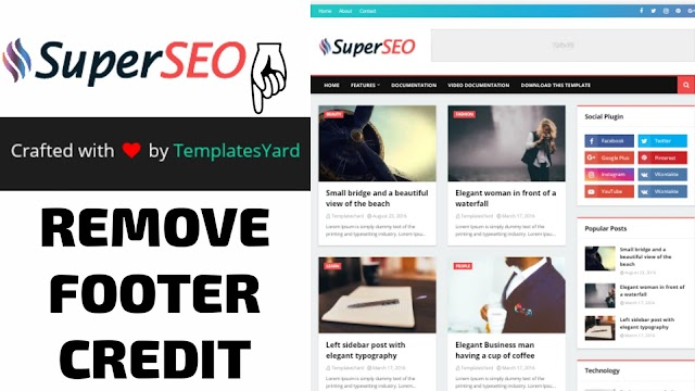How To Remove Footer Credit In Super Seo Optimized Blogger Template | Remove TemplateYard Footer Credit
