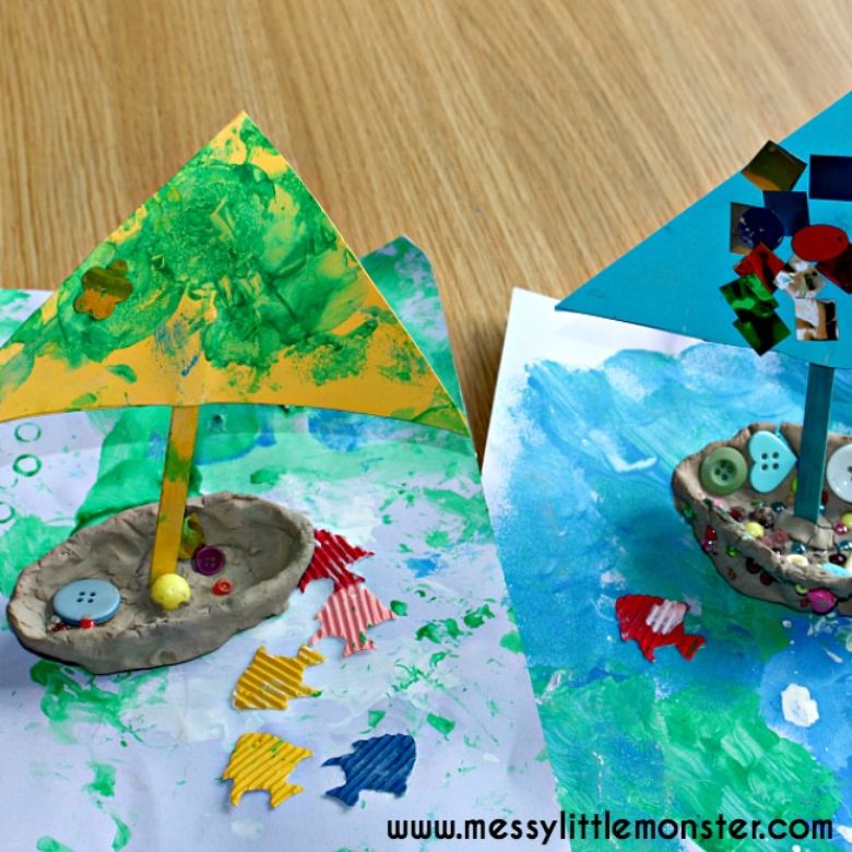 Clay sailing boat summer craft for kids