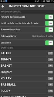 Impostazioni notifiche Diretta app