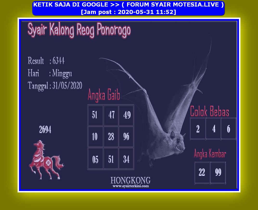 Kode syair Hongkong Minggu 31 Mei 2020 127