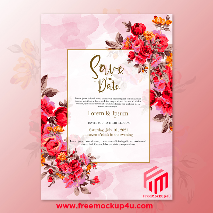 Elegant Watercolor Wedding Template With Red Flower