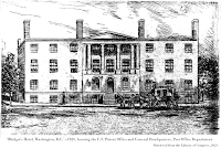 Woodcut, 'Blodget's Hotel, Washington, D.C.' c1820, housing the U.S. Patent Office and General Headquarters, Post Office Department.