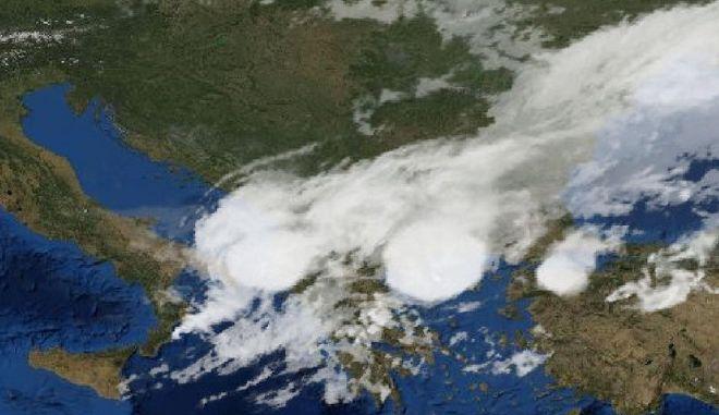 Ο δορυφόρος αποτυπώνει το χάος στην Χαλκιδική