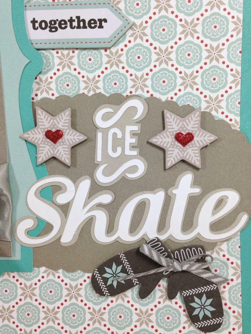Cricut Ice Skate Scrapbook Layout closeup