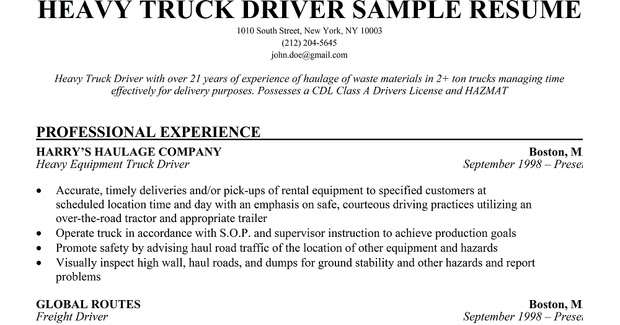 long haul truck driver resume - Onwebioinnovate