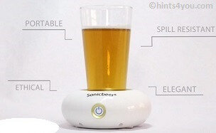Place the glass of beer on the base, push the button, enjoy!!!