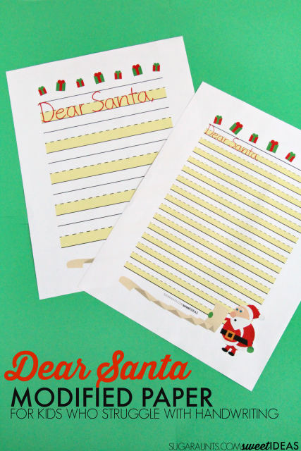 Dear Santa Christmas letter pages are part of the modified paper Christmas handwriting pack for kids.