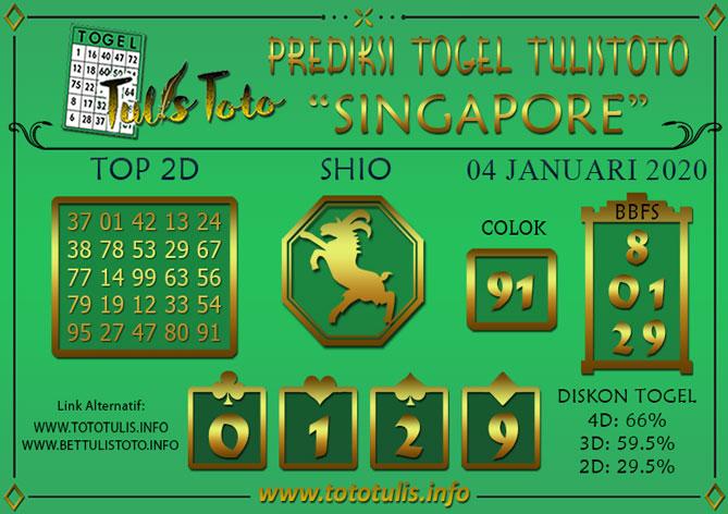 Prediksi Togel SINGAPORE TULISTOTO 04 JANUARI 2020